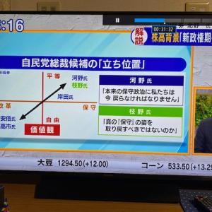 【モーサテ日記】SBI証券北野氏の総裁選候補の立ち位置チャートが素晴らしい・・・ただ