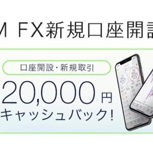 「FX口座新規開設&5万円入金で2万円のキャッシュバック」