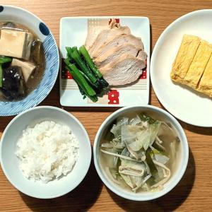 豆腐とナスの甘煮+野菜スープ