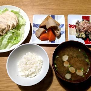 煮物と鶏むねサラダと