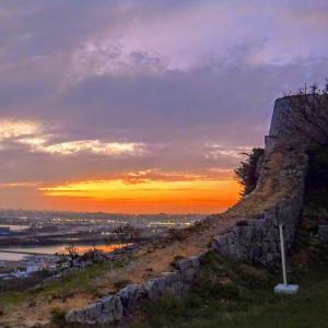 石造りの遺跡で見る壮大なサンセット『勝連城跡』(うるま市)