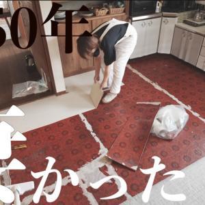 50年キッチンで頑張ったクッションフロアを剥がしてみたら…想像を超えてきた件!