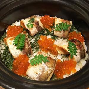 【御飯】炊き立ての茗荷ごはん  カマスの若狭焼と共にお召し上がりくださいませ