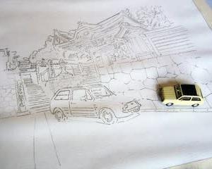 山門を描く その1