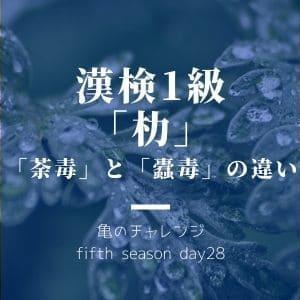 漢検1級漢字「朸」と、「荼毒」と「蠹毒」の違い