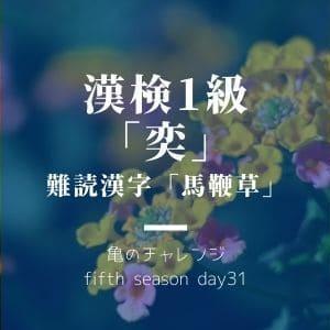 漢検1級漢字「奕」と、難読漢字「馬鞭草」