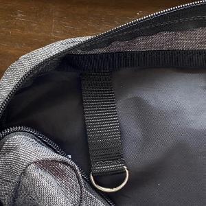 無印のショルダーバッグにカラビナ用リングを付けた。