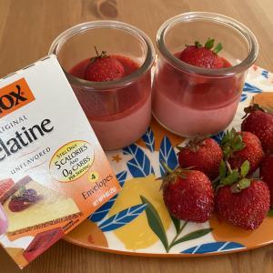 アメリカの粉ゼラチン、Knoxで作る!簡単、美味しいイチゴムース