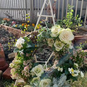 ビオパンリースの完成☆雨上がりのお庭