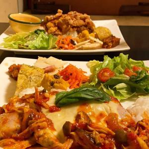 喜多方バル 唐揚げランチ&豚ロースのピッツアイオーラ
