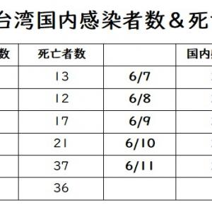 6/1~6/11の台湾感染者数、死亡者数&県市ごとの状況