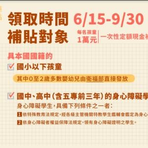 台湾国籍をもっている子供への1万台湾ドルの補助金