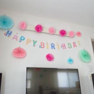 100円商品でお誕生日パーティー飾りつけ。