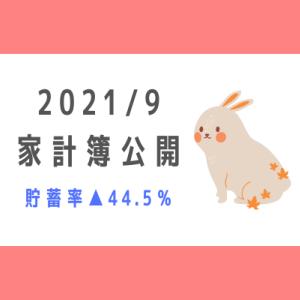 【2021年9月】30代共働き+3児の5人家族の家計簿公開!~貯蓄率▲44.5%~