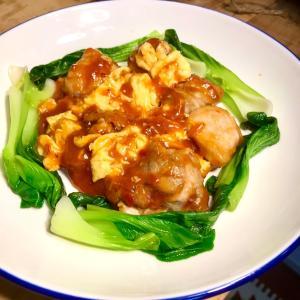 干焼鶏丁?中華のエビチリ風☆鶏もも肉のチリソース煮♬
