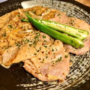 豚肩ロース肉のマスタードクリーム煮☆ソイソース風味?