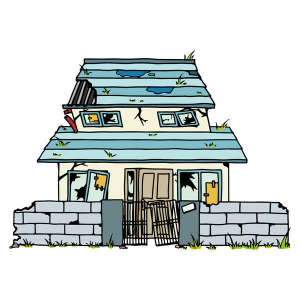 玄関前に墓・古い空き家・荒れた物置がある家!土地や家の凶作用