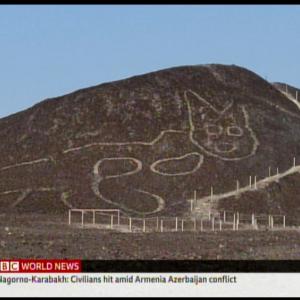 ナスカの地上絵の新作、古代ネコに驚愕