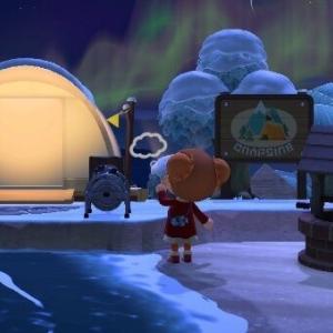 キャンプサイトと冬の夜空
