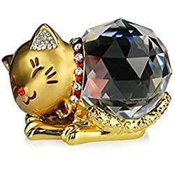 クリスタル猫に「幸運・金運招き」の願いを。