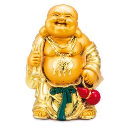 【財宝満堂】金色で朗らかな笑顔、布袋様の置物です。祝福の金運ご利益を!