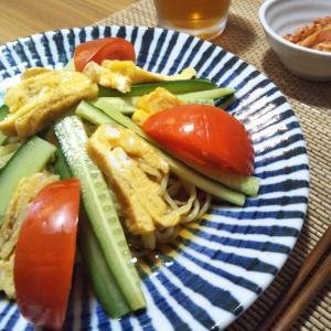 冷やし中華の昼食 ステーキの夕飯