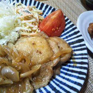 生姜焼きとモツ煮込みの夕飯