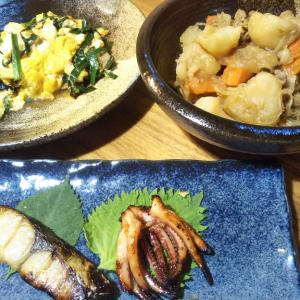魚久の粕漬け・肉じゃが・ニラ玉の夕飯