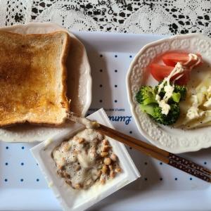 年金暮らしの朝ごはん いつもの納豆パン
