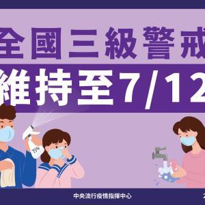全國疫情警戒第三級至7月12日