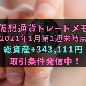 【仮想通貨】トレードメモ2021年1月第1週末時点(総資産+343,111円)