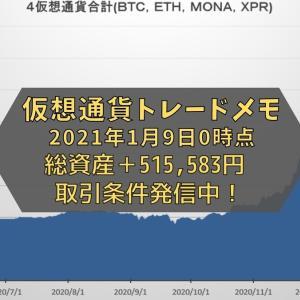 【仮想通貨】トレードメモ 総資産は+515,583円でした(2021年1月9日0時時点)