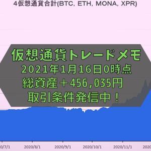 【仮想通貨】トレードメモ 総資産は+456,035円でした(2021年1月16日0時時点)
