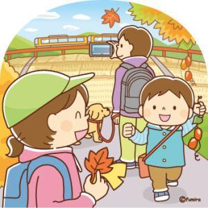 【クリップアート】紅葉を楽しむ家族のイラスト