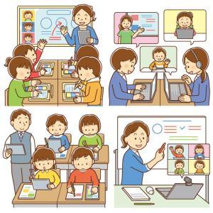 【クリップアート】デジタル・オンライン学習のイラスト