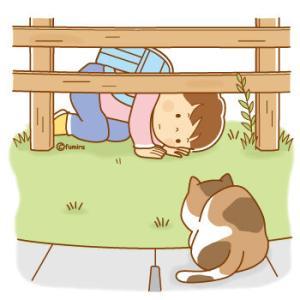【クリップアート】猫をのぞきこむこどものイラスト