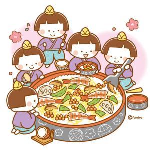 【クリップアート】ちらし寿司と五人囃子のイラスト