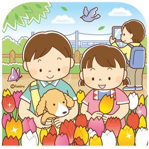 【クリップアート】チューリップ畑と子どものイラスト