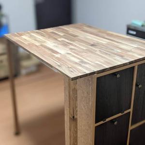 カラーボックスをリメイクして、ダイニングテーブルを作りました!でも、ほぼ失敗!?  DIYにむいてないかも…