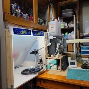 続・自作塗装ブース五代目を改良して、作業スペースを改善しました。