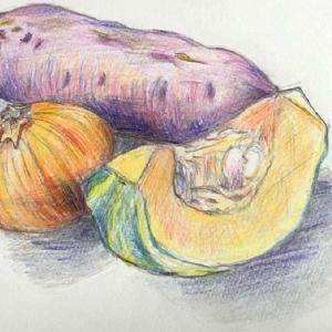 『カボチャ・サツマイモ・タマネギ』(色鉛筆画)