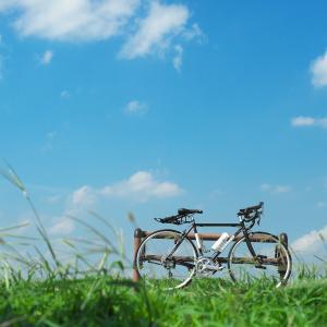 タイヤの空気圧は低めで乗り心地を優先したら、ロードバイクのロングライドで遠足気分。