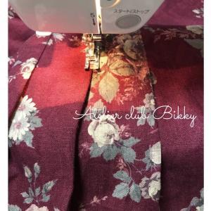 花柄リネン生地でロングスカート