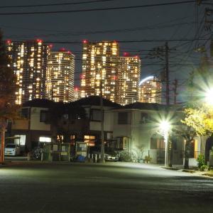 【夜景】住宅街と高層ビル