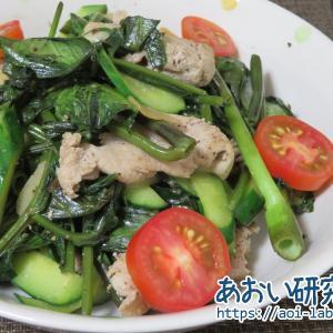 料理日記 196 / 空心菜ときゅうりと豚肉の塩こしょう炒め