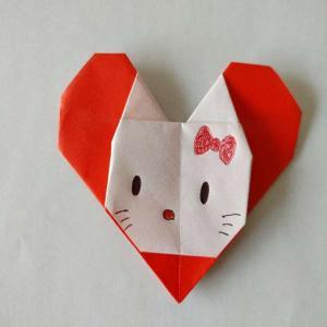 ハートのキティの折り紙 折り方作り方は簡単♪かわいいサンリオキャラクターを手作り!
