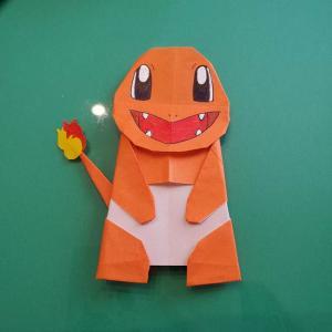 ヒトカゲの折り紙の簡単な折り方作り方(顔と体)☆かわいいポケモンキャラクター