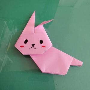 うさぎの折り紙を簡単に幼稚園年長が作れた♪全身平面の折り方作り方