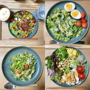 我が家の新生活、平日の晩ごはんはサラダ飯。たくさんの野菜摂取で健康に。