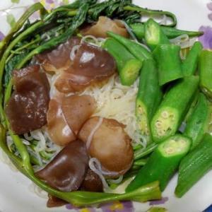 レクチンフリー空心菜とオクラ炒め